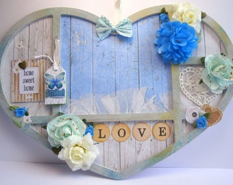 Wood wall photo frame - heart shape
