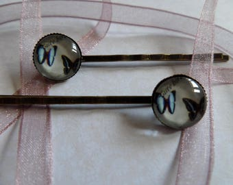 Glass cabochon Barrettes * Cute butterfly * 12 mm