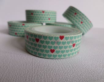 Washi tape in turquoise and Red hearts