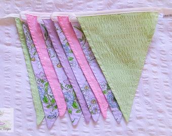 Daffodil pink, purple and green fabric bunting / nursery decor / seersucker & anglaise