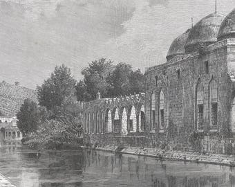 Mosque of Ibrahim Khatil, Syria 1889 - Old Antique Vintage Engraving Art Print - Mosque, Bricks, Water, Canal, Arches, Man, Trees, Hill