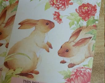 Vintage Antioch Book Plates - Bunny Rabbit with Pink Flowers - Set of 3 Bookplates