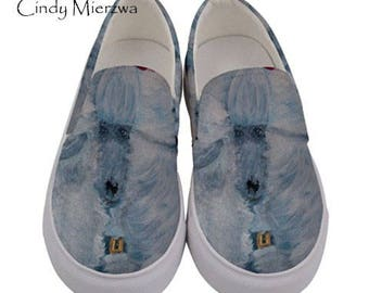 "Heavyweight Canvas Slip on Shoes ""Snowy"" From my Original Painting"