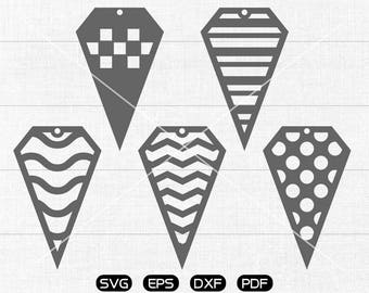 Diamond earring SVG, Diamond Tear drop svg, leather jewelry making Clipart, cricut, silhouette cut files commercial use