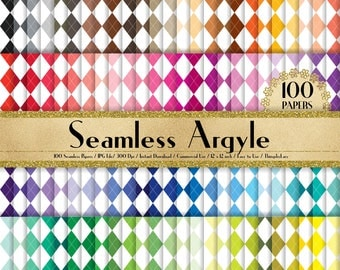 """100 Seamless Argyle Papers in 12"""" x 12"""", 300 Dpi Planner Paper, Scrapbook Paper,Rainbow Paper,100 Argyle Papers,100 Cloth Papers"""