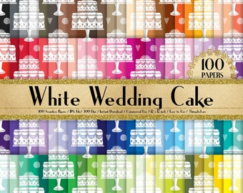 """100 Seamless White Wedding Cake Papers in 12"""",300 Dpi Planner Paper,Commercial Use,Bridal Shower Papers,Rainbow Paper,Digital Wedding Paper"""