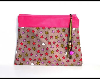 Pink starry makeup case pouch
