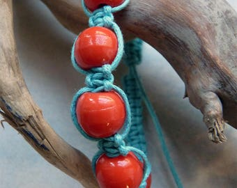 Turquoise and Red shambala bracelet