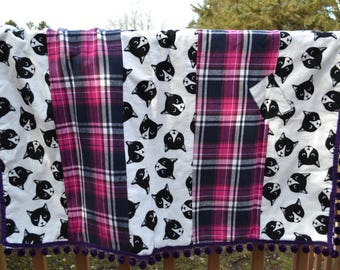Cat Quilt / Lap Quilt / Plaid / Pom Poms / Handmade / One of a Kind / Ready to ship / Free Shipping / Personalize