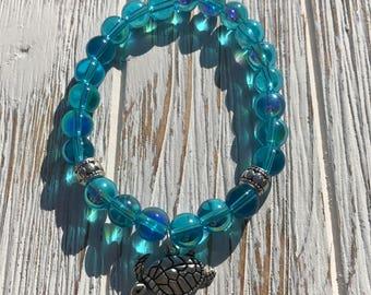 Blue glass sea turtle bracelet