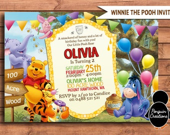 Winnie the Pooh Invitation. 100 Acre Wood Birthday Party. Party Supplies.