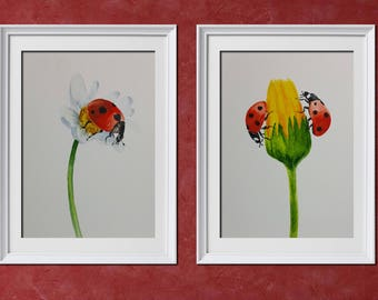 Ladybug Fine Art Print from Watercolor Set of 2 Prints Ladybug Prints Ladybug Wall Art