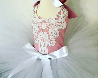 Baby pink and lace romper and white tutu set, white tutu, baby tutu, baby lace romper, cakesmash outfit, tutu set, romper set, easter tutu