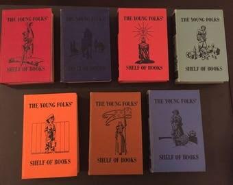 7 Lot 1948 Collier Popular Edition Collection Young Folks Shelf of Books - Junior Classics Vol 1, 3-6, 8, 9 - Hardback Children's Book Set