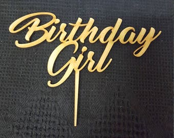MDF Laser Cut Cake Topper  - Birthday Girl