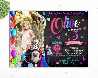 Customizable- Frozen Birthday Invitation, Princess Birthday Invitation, Birthday Invitations for Girls,Frozen Invites,Digital, Olaf,Kristoff