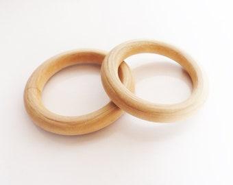 2 anneaux de dentition en Bois Naturel Brut 68 mm- bois de hêtre - bois non traité - création hochet bébé