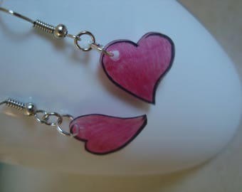 Fancy crazy plastic red pink heart earrings