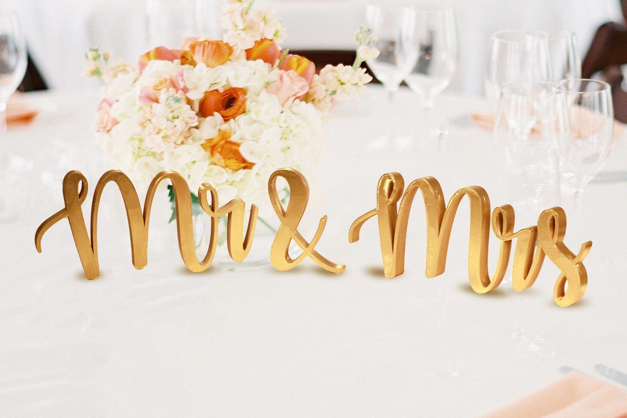 Mr & Mrs Sign, 5in. Vintage Script Rose Gold Sweetheart table ...