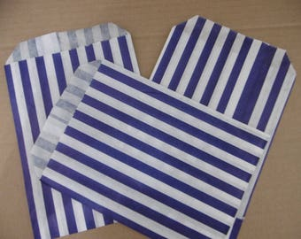 "100x Blue Sweet Candy Stripe Bags 7""x 5"" Weddings Birthdays, Celebrations Events Supplies"