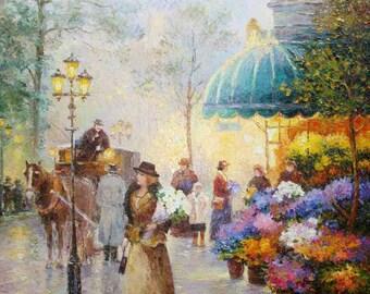 Flower Girl oil on canvas painting 40X50 cm
