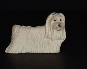Sandicast white Shih Tzusmall size sculpture, DOG Figurine, Statue, Hand Painted, Resin, Replica Realistic, Pet Lovers, Dog, Collectible