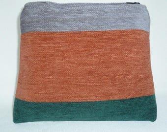 Striped chenille velvet pouch