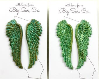 Long Feather Wings Patina Earrings . green turquoise verdigris . 2 inches long