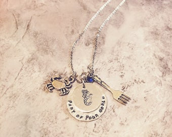 Ariel Part of Your World Hand-stamped personalized Necklace| Little Mermaid Inspired Silver Plated Charm Handcrafted Necklace|