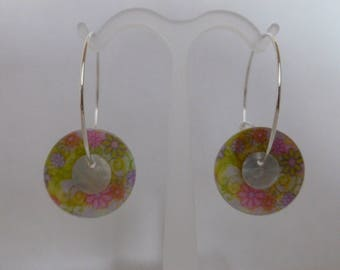 """Creole earrings """"spring button"""" new"""
