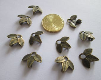lot de 10 Connecteurs feuille en métal couleur bronze 14 x 13 mm