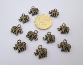10 breloque éléphant en métal bronze 13 X 12 mm