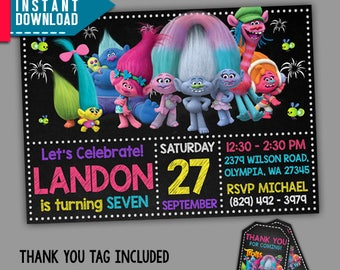 Trolls Birthday, Trolls Invitation, Trolls Party, Editable PDF Template, Instant Download, Editable Invitation, FREE Thank You Tags