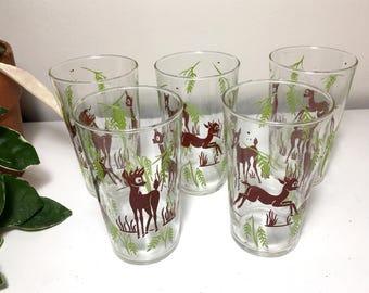 Vintage Federal Glass Deer Glasses - Set of 5