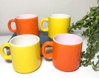 Vintage Set of 4 Yellow and Orange Milk Glass Mugs