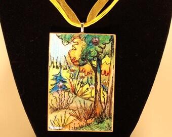Watercolor Pendant/original/miniature painting/wearable art/ wear jewellery/