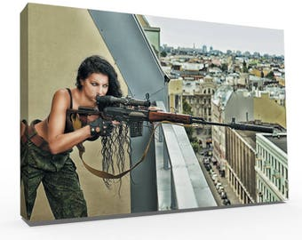 Landscape Canvas, Canvas Art, Wall Decor Canvas, Gallery Wrap Fine Art, Photography Canvas, Man Cave, Shooting Girl 4, Wall Art