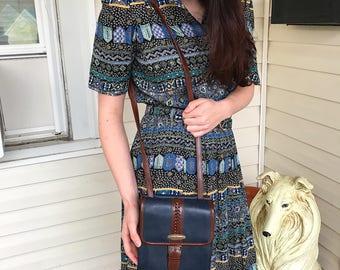 Vintage 90s Liz Claiborne Double Compartment Navy/Brown Leather Cross body purse