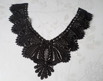 x 1 black floral sheer lace guipure applique lace collar 28 x 40 cm AA