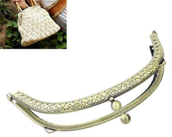 x 1 claps semicircle vintage flower purse metal clasp bronze 13 x 6.5 cm