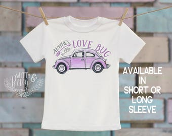 Auntie's Little Love Bug Kids Shirt in Purple, Gifts from Auntie, Gifts for Niece, VW Beetle Kids Shirt, Boho Kids Shirt - T278A