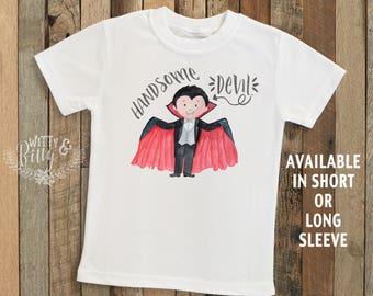 Handsome Devil Dracula Shirt, Halloween Tee, Dracula Kids Tee, Boys Halloween Tee, Boho Halloween Shirt - T280H