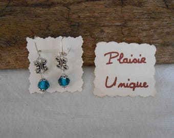 Earrings peacock blue glass beads