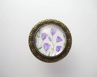 """Purple Crocus"" fashion ring jewelry white green purple leaf flower cabochon"