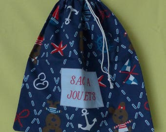 """Toy bag anchors and Cubs embroidered """"A toys bag"""" red lined sky blue"""