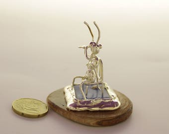 Silver plated Miniature ant playing the Flute ,free shipping,Unique gift Miniature Sculpture,hand made ,musical gift, Graduation gift