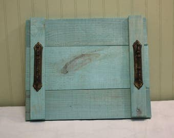 Turquoise Wooden Decorative Tray for the Kitchen or Living Room!
