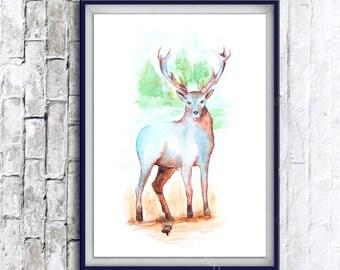 Watercolor Art, deer print, Digital Print, Instant Download Printable Art, watercolor deer painting, deer, animal art, animal painting