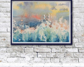 Original Watercolor Print, Watercolor Poster, Abstract Print, Printable abstract decor, Wall Art, downloadable wall art, Modern Poster