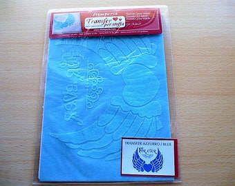 transfer wings of Angel with heart, 17 cm, color sky blue for customisation and decoration
